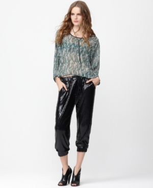 Bar III Pants, Relaxed Straight Cropped Allover Sequined Drawstring
