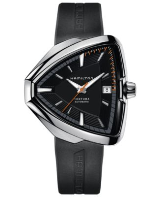 Men's Swiss Automatic Ventura Elvis80 Black Rubber Strap Watch 44.6mm