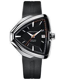 Hamilton Men's Swiss Automatic Ventura Elvis80 Black Rubber Strap Watch 44.6mm