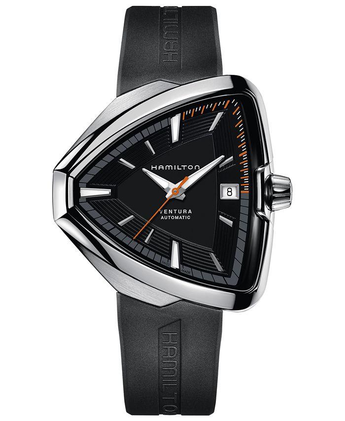 Hamilton - Men's Swiss Automatic Ventura Elvis80 Black Rubber Strap Watch 44.6mm