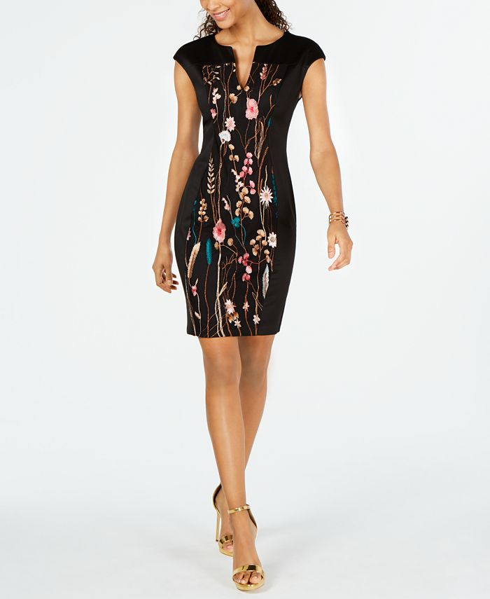 Connected - Petite Embroidered Split-Neck Dress