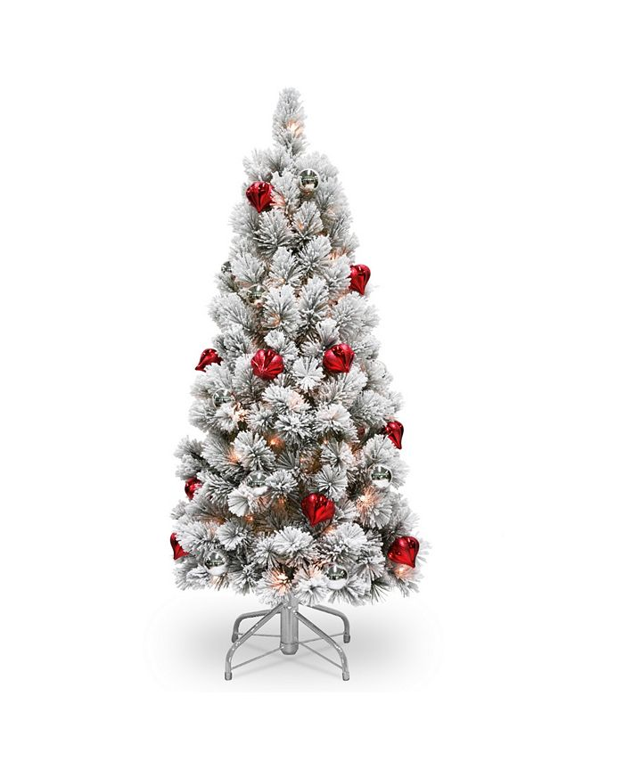 National Tree Company - National Tree 4 .5' Snowy Bristle Pine Tree with Red Silver Ornaments 150 Clear Lights