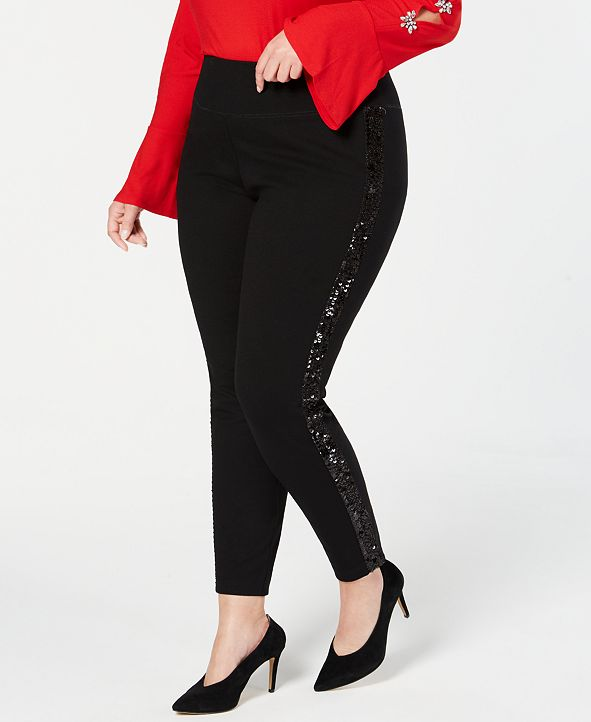 INC International Concepts INC Plus Size Sequin-Varsity-Stripe Ponte-Knit Pants, Created for Macy's