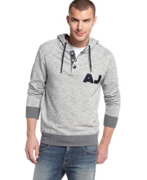 Armani Jeans Hoodie, Melange Pullover Fleece Hoodie