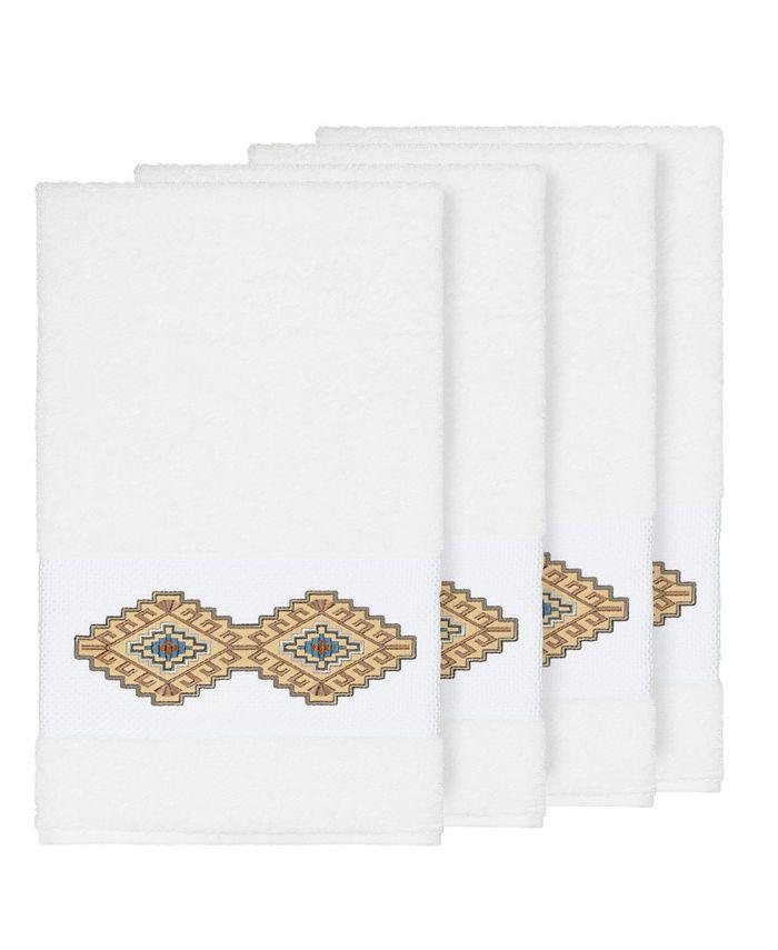 Linum Home - Gianna 4-Pc. Embroidered Turkish Cotton Bath Towel Set