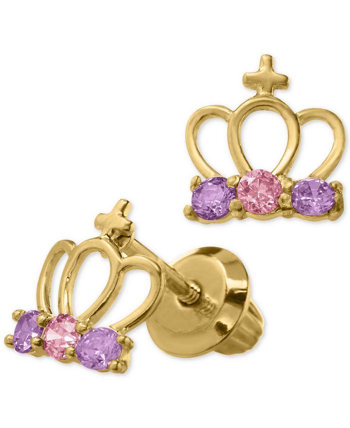 Macy's - Children's Cubic Zirconia Tiara Safety-Back Earrings in 14k Gold