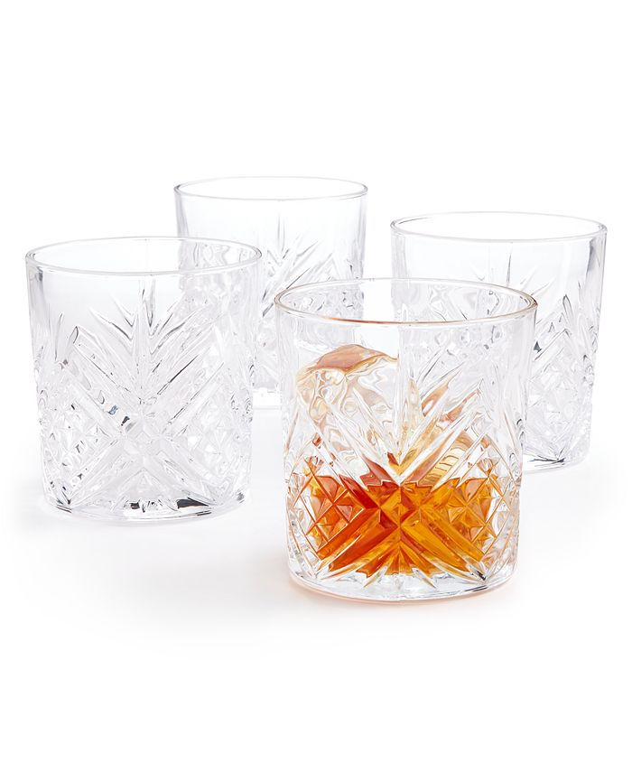 Martha Stewart Collection - Set of 4 Cut-Glass Double Old Fashion Glasses
