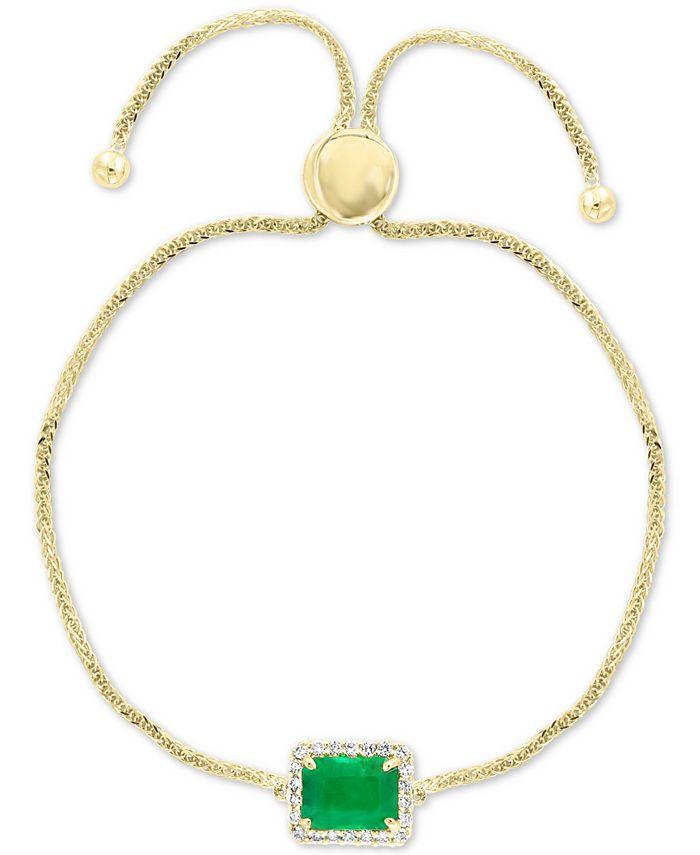 EFFY Collection - Emerald (1-3/8 ct. t.w.) & Diamond (1/5 ct. t.w.) Bolo Bracelet in 14k Gold