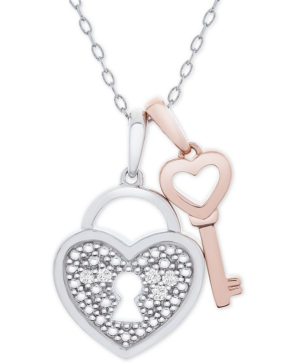 """Macy's Diamond Accent Heart Lock & Key 18"""" Pendant Necklace in Sterling Silver & 14k Rose Gold-Plate"""