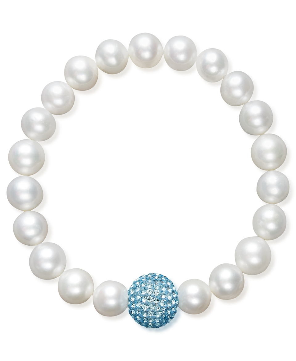 Pearl Bracelet, Cultured Freshwater Pearl and Blue Crystal Bead Bracelet   Bracelets   Jewelry & Watches