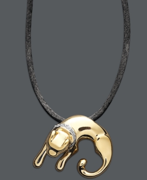 14k Gold over Sterling Silver and Sterling Silver Necklace, Diamond Accent Panther Pendant