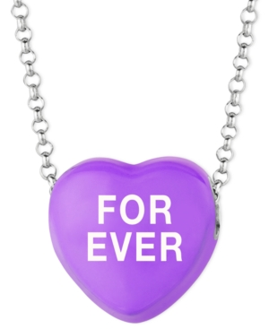 Sweethearts Sterling Silver Necklace, Purple For Ever Heart Pendant
