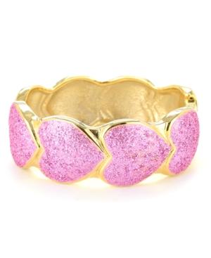 Betsey Johnson Bracelet, Pink Glitter Heart Bangle Bracelet