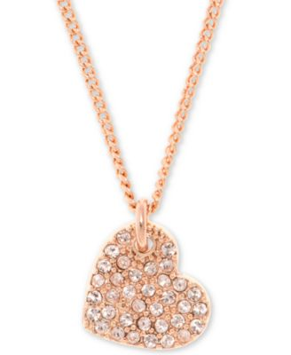 """Pavé Heart Pendant Necklace, Created for Macy's , 16"""" + 3"""" extender"""