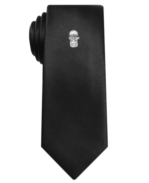 Alfani RED Tie, Black Sateen Solid Skinny Tie with Skull