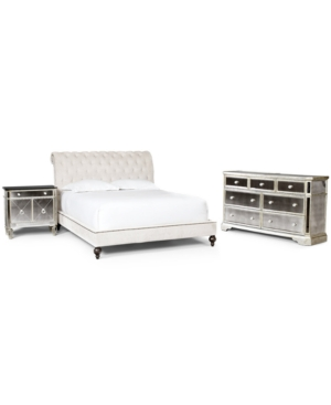 Upc 025500000084 Marais Mirrored Furniture King 3 Piece Set Bed Mirrored Console And