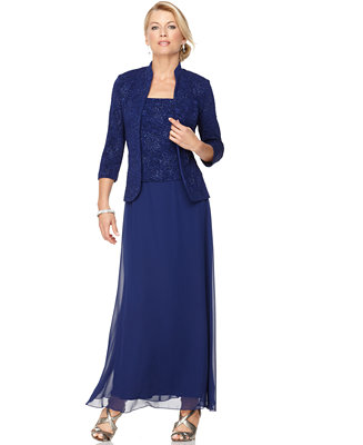 Alex Evenings Sleeveless Jacquard Sparkle Gown And Jacket