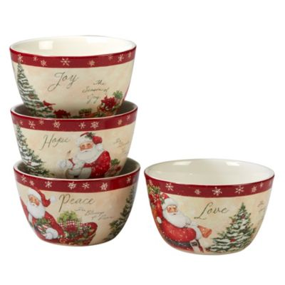 Holiday Wishes 4-Pc. Ice Cream Bowl asst.