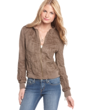 American Rag Jacket, Long Sleeve Crinkled Faux Suede Bomber
