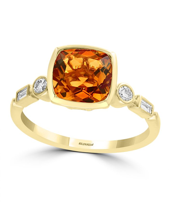 EFFY Collection - Citrine (1-3/4 ct. t.w.) & Diamond (1/6 ct. t.w.) Ring in 14k Gold