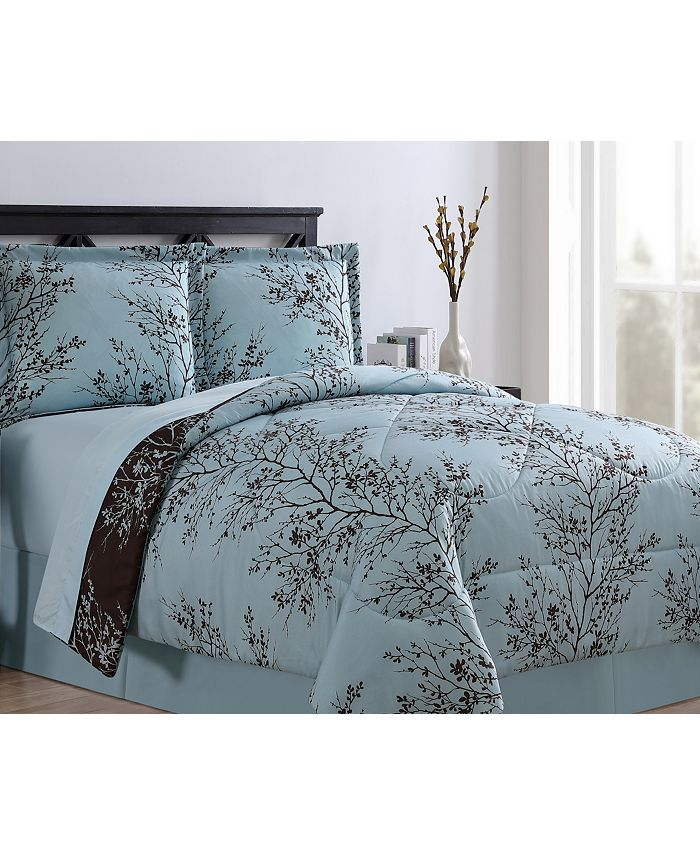 VCNY Home - Blue & Chocolate Leaf Comforter Set Collection