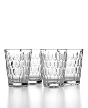 The Cellar Drinkware, Set of 4 Honeycomb Clear Double Old Fashioned Glasses