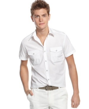 Kenneth Cole Reaction Shirt, Short Sleeve Two Pocket Solid Shirt