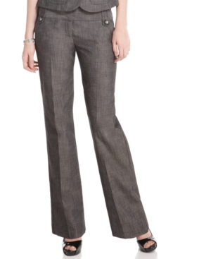 BCX Pants, Chambray Wide Leg Pleated Trouser