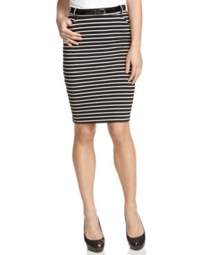 GUESS? Skirt, Striped Belted High Waist Pencil