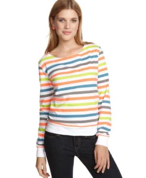 LA Kitty Top, Long Sleeve Striped Crochet Sweatshirt