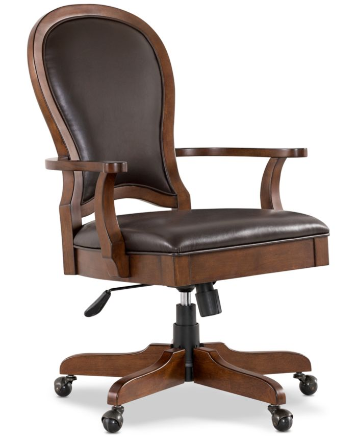 Furniture Clinton Hill Cherry Home Office, 2-Pc. Set (Executive Desk & Leather Desk Chair) & Reviews - Furniture - Macy's