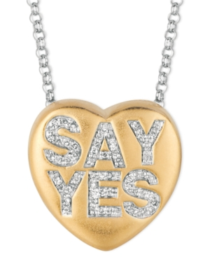 Sweethearts Diamond Necklace, 14k Gold over Sterling Silver Diamond Say Yes Heart Pendant (1/6 ct. t.w.)