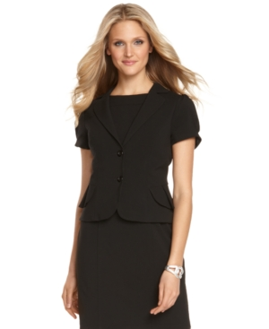 AGB Jacket, Short Sleeve Pleated Peplum Blazer