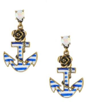 Betsey Johnson Earrings, Blue Anchor Earrings