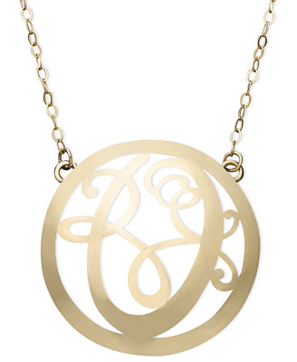 14k gold necklace o initial scroll circle pendant