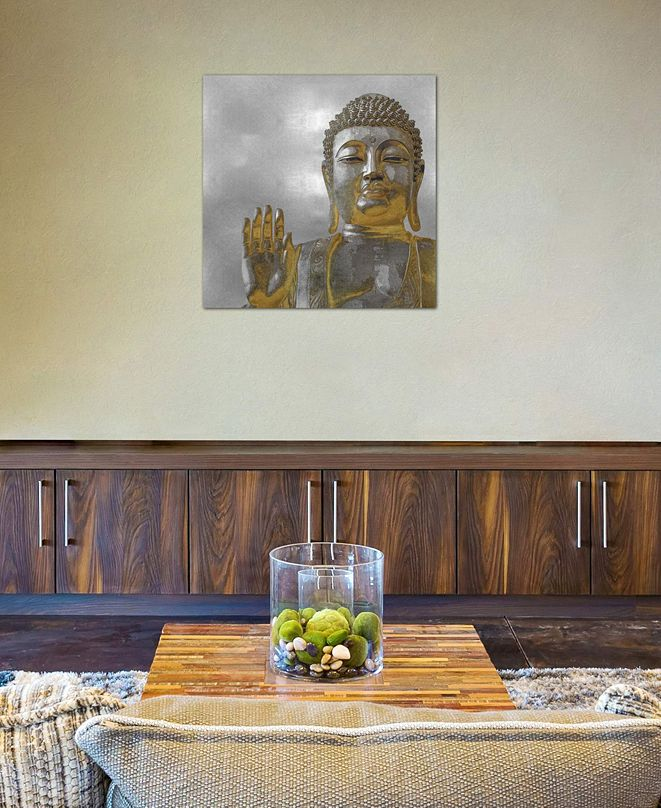 """iCanvas """"Silver And Gold Buddha"""" by Tom Bray Gallery-Wrapped Canvas Print (18 x 18 x 0.75)"""