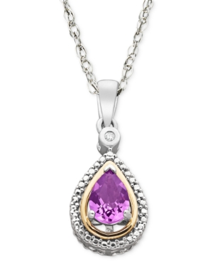 Sterling Silver and 14k Gold Necklace, Amethyst (5/8 ct. t.w.) and Diamond Accent Pendant