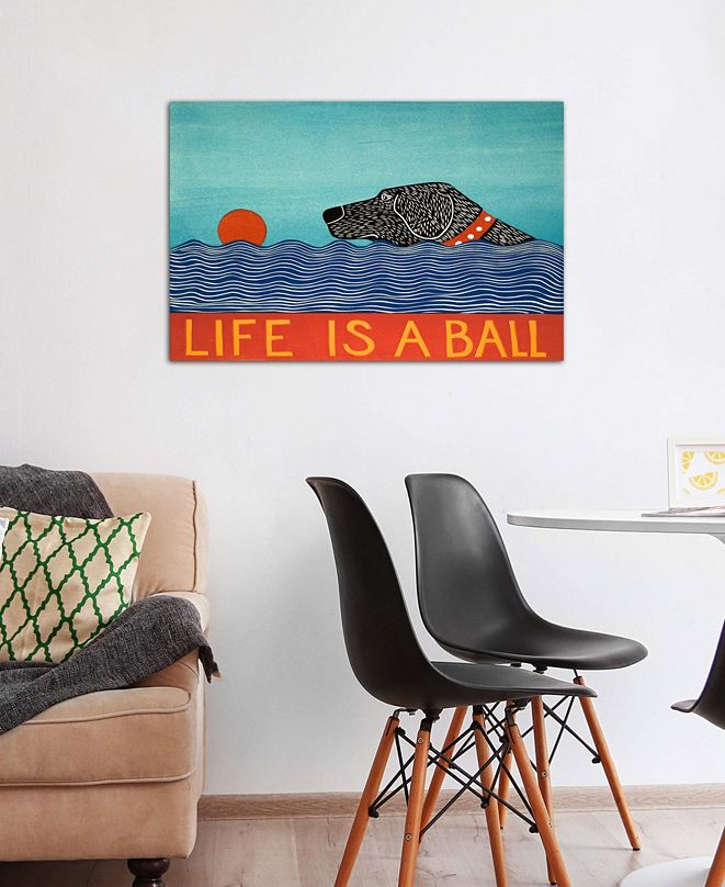 "iCanvas ""Life Is A Ball Black"" by Stephen Huneck Gallery-Wrapped Canvas Print (18 x 26 x 0.75)"