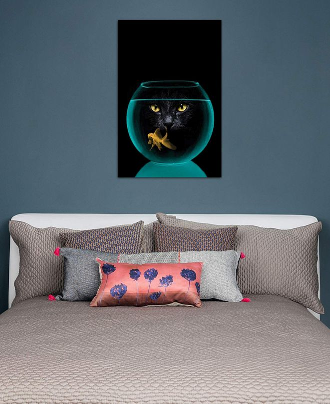 """iCanvas """"Black Cat Goldfish"""" by Vin Zzep Gallery-Wrapped Canvas Print (26 x 18 x 0.75)"""