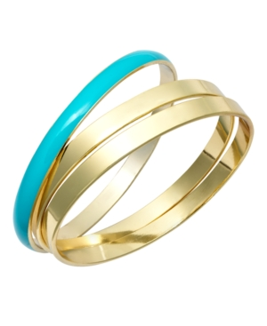 Charter Club Bracelet Set, Gold Tone and Turquoise Resin Bangles