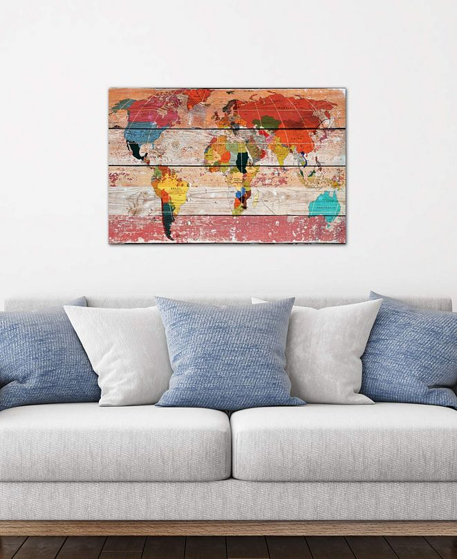 """iCanvas """"World Map"""" by Irena Orlov Gallery-Wrapped Canvas Print (26 x 40 x 0.75)"""