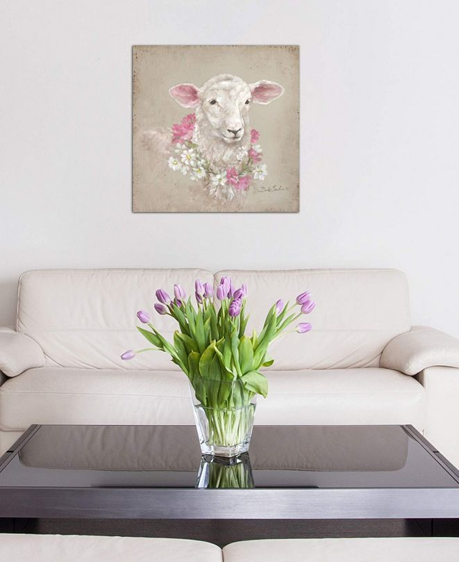 """iCanvas """"Sheep With Wreath"""" by Debi Coules Gallery-Wrapped Canvas Print (26 x 26 x 0.75)"""