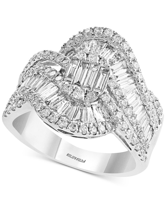 EFFY Collection - Diamond Baguette Swirl Statement Ring (1-1/2 ct. t.w.) in 14k White Gold