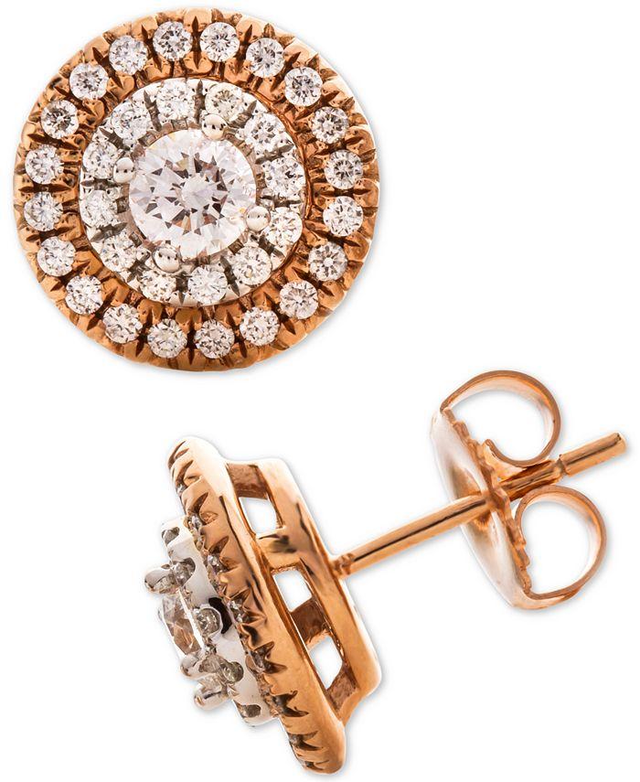 Macy's - Diamond Halo Stud Earrings (1 ct. t.w.) in 14k Rose & White Gold