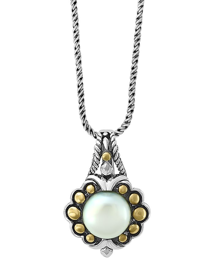 "EFFY Collection - Cultured Freshwater Pearl (9mm) 18"" Pendant Necklace in Sterling Silver & 18k Gold"