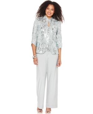 Alex Evenings Outfit, Three Quarter Sleeve Sequin Jacket, Cami & Wide Leg Pants