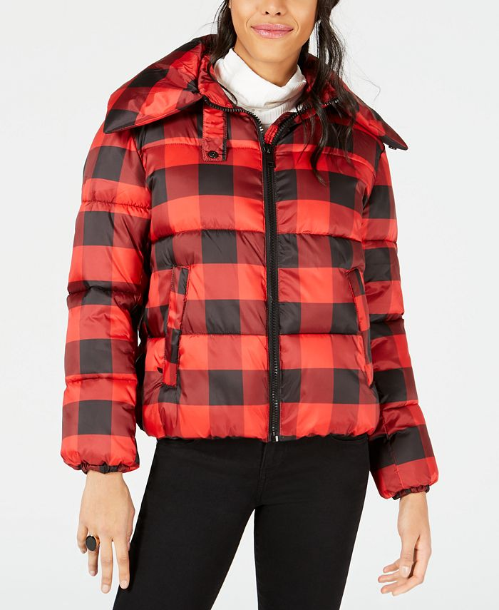 Kendall + Kylie - Plaid Cropped Puffer Coat