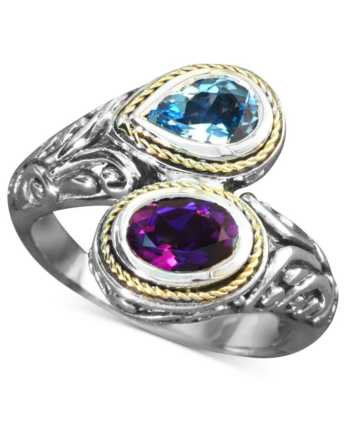 EFFY Collection - Blue Topaz (3/4 ct. t.w.) and Amethyst (3/4 ct. t.w.) Bypass Ring in Sterling Silver and 18k Gold