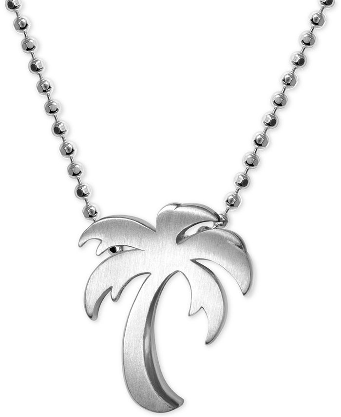 """Alex Woo - Palm Tree 16"""" Pendant Necklace in Sterling Silver"""