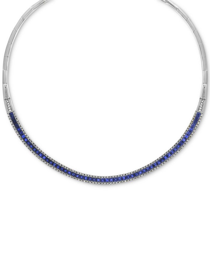 "EFFY Collection - Sapphire (10-1/10 ct. t.w.) & Diamond (1-1/5 ct. t.w.) Fancy 18"" Collar Necklace in 14k White Gold"